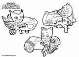 Pj Masks Coloring Catboy Pages Printable Vehicles Mask Cars Sheets Boys Adults Disney Preschool Colorir sketch template