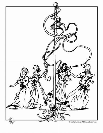 Coloring Pages Maypole Beltane Colouring Pagan Basket