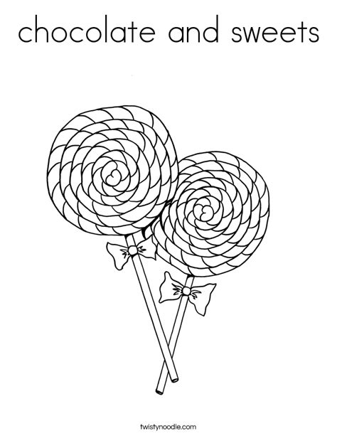 chocolate  sweets coloring page twisty noodle