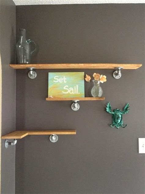 interesting diy floating corner shelves  pecan wooden