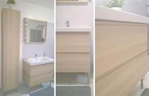 Salle De Bain En Bois : salle de bain r novation en gris blanc et bois ~ Teatrodelosmanantiales.com Idées de Décoration