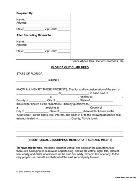 quick deed form free printable quick claim deed form florida pdf form resume exles