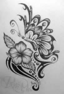 Tribal Flowers and Butterflies Drawings