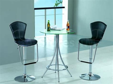 modern bar set glass bar table and two bar stools