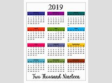 2019 PRINTABLE Big Mambi Happy Color Calendar Insert
