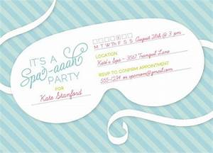 Spa themed bridal shower ideas for Spa mask invitation template