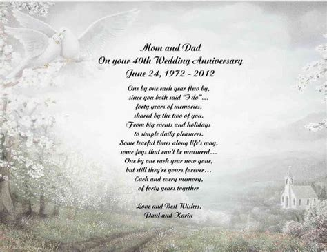 40th Anniversary Poems For Parents