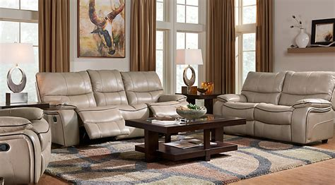 Cindy Crawford Home Gianna Mushroom Leather 5 Pc Living