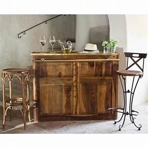 Meuble Bar Maison Du Monde : meuble de bar en bois de sheesham massif l 132 cm luberon ~ Nature-et-papiers.com Idées de Décoration