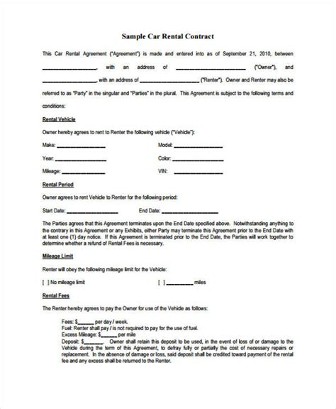 sample rental agreement forms   ms word
