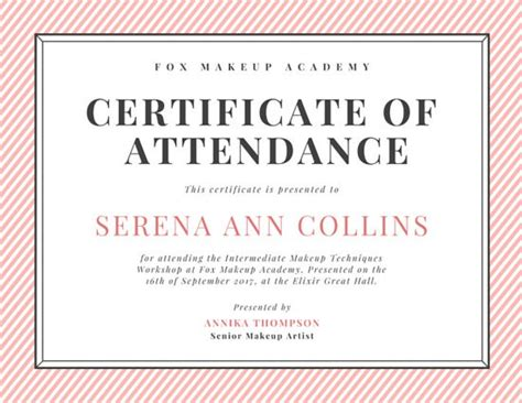 certificate of attendance seminar template geometric triangle border attendance certificate templates by canva