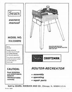Sears Craftsman Router Table Parts