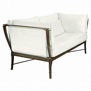 Jane modern french metal white outdoor loveseat sofa for Jane sectional outdoor sofa