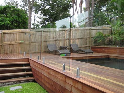 Corner Deck Steps by Pacific Security Fence Glass Fencing