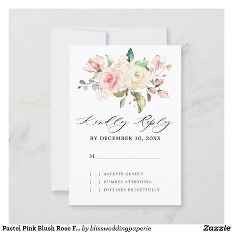 Pastel Pink Blush Rose Floral Botanical Wedding RSVP Card