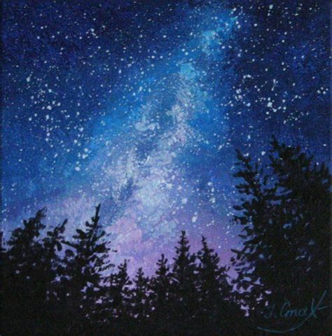 Milky Way Painting Starry Night Art Sky Paintings