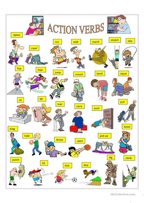 Action Verbs Worksheet  Free Esl Printable Worksheets Made By Teachers