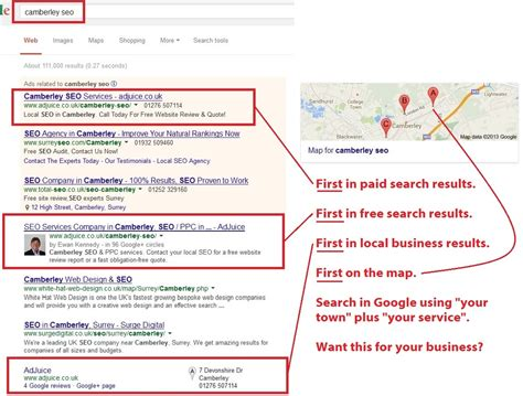 Seo Search Results - seo surrey local seo services to find local customers