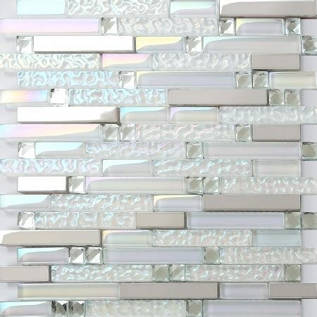 iridescent glass metal stainless steel mosaic tile