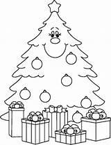 Coloring Tree Printable Children Presents Colouring Evergreen Ornament Ornaments Da sketch template