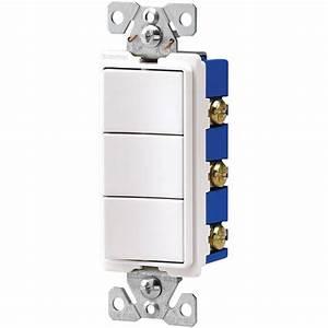 Eaton 15 Amp Three Single Pole Combination Decorator Light Switch - White-7729w-sp