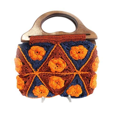 tas botega motif bunga orange jual smesco trade rajut motif bunga kombinasi orange biru tas tangan harga kualitas