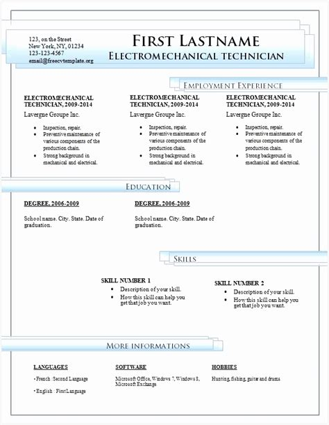 Resume Template Word 2007 by 9 Cv Template Word 2007 Free Sles Exles Format