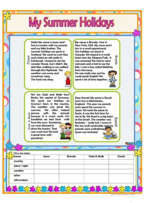 summer holidays worksheet  esl printable