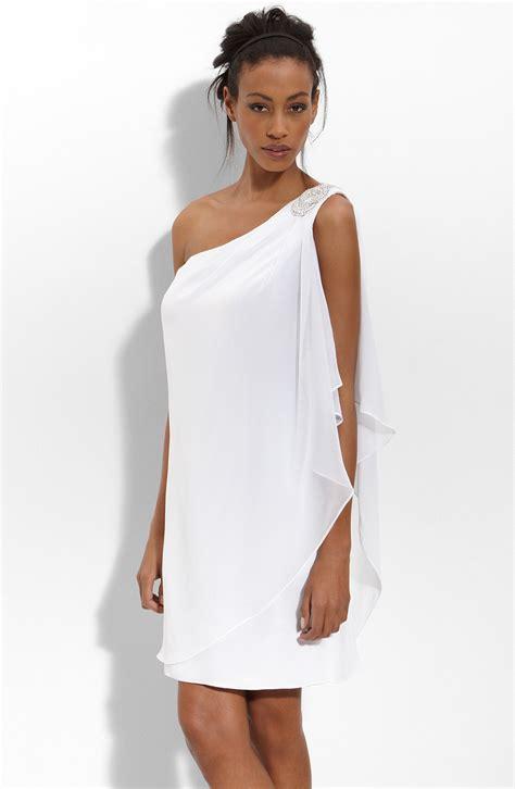 white dresses js boutique embellished one shoulder chiffon dress in