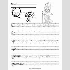 Free Printable Cursive Q Worksheet  Cursive Writing Worksheets