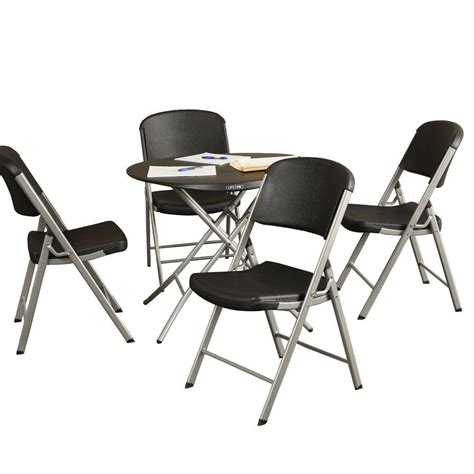 lifetime tables and chairs lifetime 5 piece black folding table and chair set 80438
