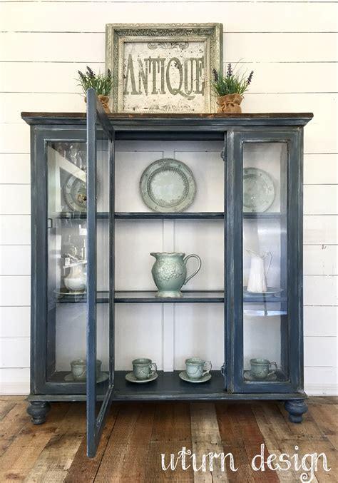 Blue Grey Hutch Uturn Design Furniture Curio Cabinets