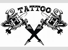 Illustration With Handdrawn Tattoo Machines Stock Vector
