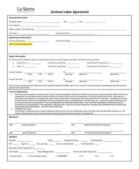 contract labor contract form 4 labor agreement templates free sles exles