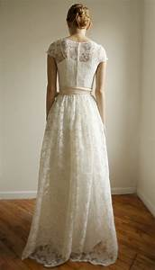 ellie long 2 piece lace and cotton wedding dress With cotton wedding dress