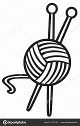 Tejer Ball Knitting Vector Yarn Bola Agujas Hilo Needles Ilustracion Tribaliumivanka Depositphotos sketch template