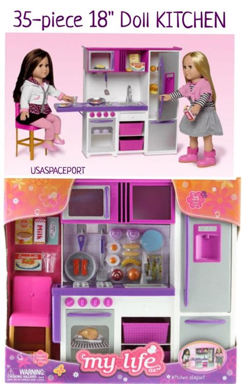 my life as desk and chair set 35pc doll kitchen refrigerator accessories playset 18
