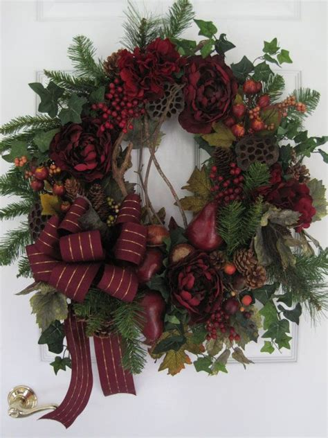 burgundy holiday wreath fall thanksgiving christmas decorations