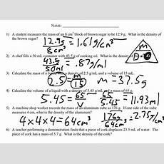 Density Calculations Worksheet  Science Showme