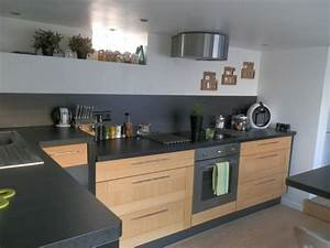 Cuisine Plan De Travail Bois : cuisine bois et plan de travail noir cuisine pinterest ~ Dailycaller-alerts.com Idées de Décoration