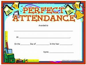 13 free sample perfect attendance certificate templates printable samples for Perfect attendance certificate printable
