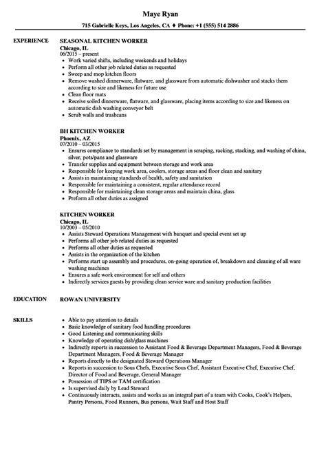 kitchen worker resume sles velvet