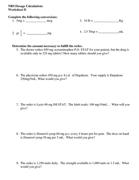 worksheet pharmacy math worksheets worksheet