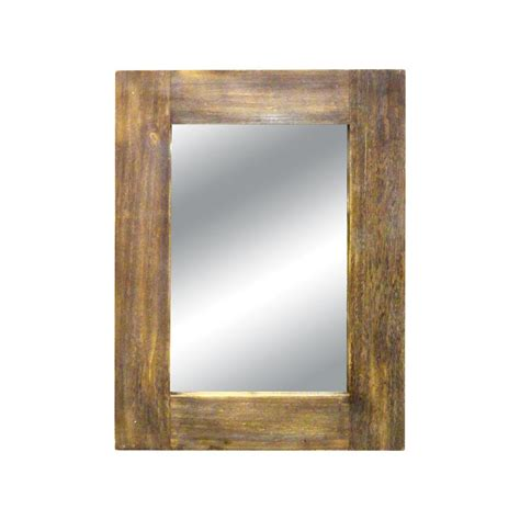 with wooden frame titan lighting canal 42 in x 32 in wood framed mirror tn