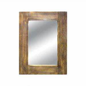 Titan lighting canal 42 in x 32 in wood framed mirror tn for Mirror wood frame