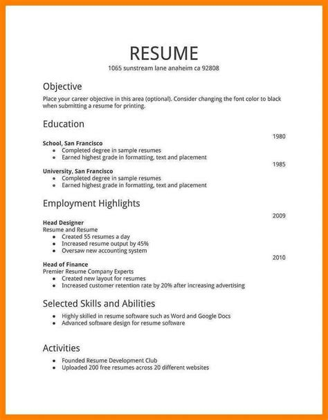 Basic Resume Format by 16 Basic Curriculum Vitae Format Wine Albania