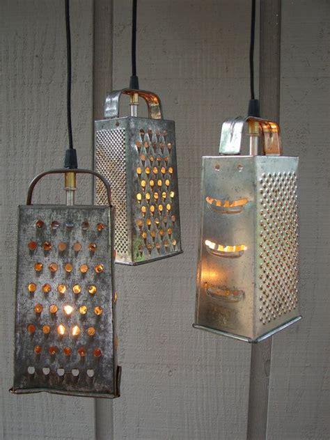 Kitchen Grater Lights by Upcycled Vintage Colander And Grater Pendant Light