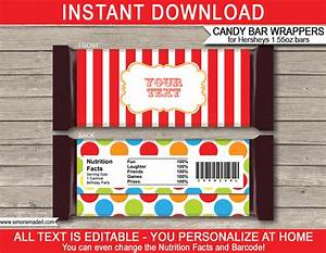 Carnival hershey candy bar wrappers personalized candy bars for Personalized chocolate bar wrappers template