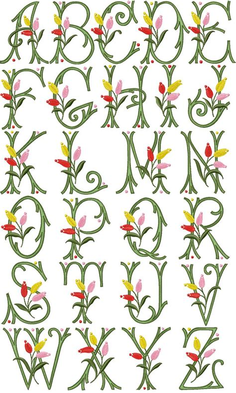 tulip kisses font machine embroidery  embroidery
