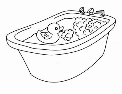 Coloring Bath Rubber Ducky Duck Going Tub